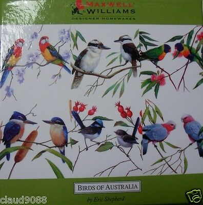 "MAXWELL & WILLIAMS ""BIRDS OF AUSTRALIA COASTERS SET 6"" FF1601 Gift Boxed"