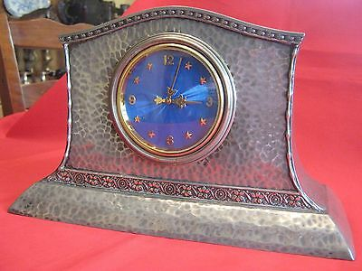 1905 Arts & Crafts Planished Pewter And Blue Enamel Imhof 8 Day Mantle Clock.