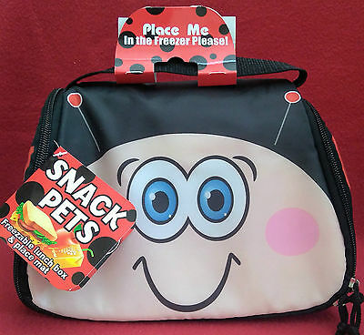 Snack Pets - Childs - Freezable - Lunch Box & Place Mat - Ladybird Or Cow - New