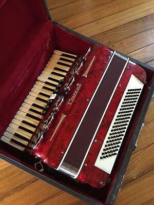 Large Vintage Piano Red Accordion In Case