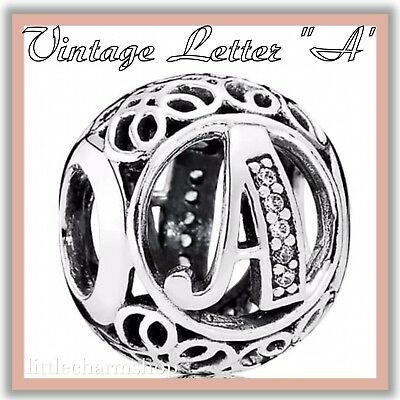 PANDORA ALE S925 Sterling Silver Vintage A Openwork Charm 791845CZ New Authentic