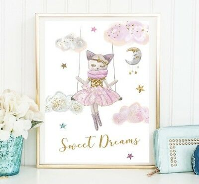 Girls Nursery Room Custom Name Prints Sweet Dreams Cat Print Wall Art Decor Sign