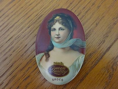 Antique Vintage Celluloid Advertising Pocket Mirror Queen Quality Shoes