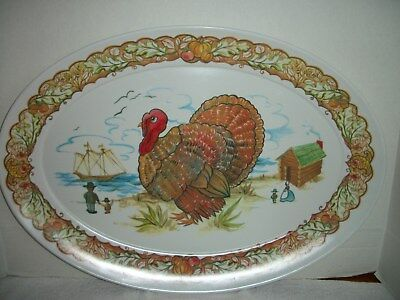 Vintage Brookpark Thanksgiving Pilgrims Mayflower Melmac Turkey Platter