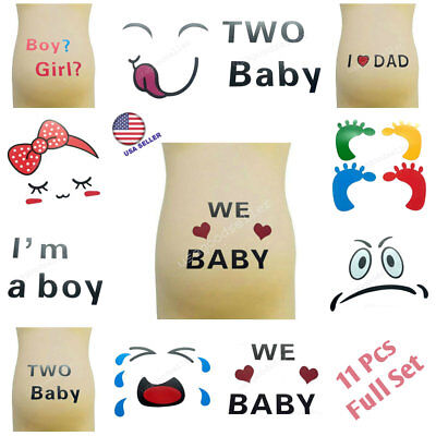 Pregnant Women Belly Tattoo Maternity Painting Sticker Baby Photo Props 11pcs US