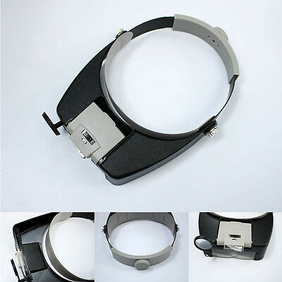 Magnifying Glass With 3Lens LED Light Lamp Head Loupe Jewely Headband Magnifier
