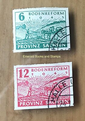 EBS Germany 1945 Soviet Zone SBZ Saxony Land Reform imperf. Michel 85-86 U cv $9