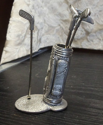 Pewter Detailed Golf Bag with 5 Appetizer Golf Club Forks Made in Nova Scotia