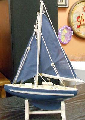 "Carved Wood Boat with Cloth Masts on Wood Stand Blue & White  7.25"" L x 10.5"" H"