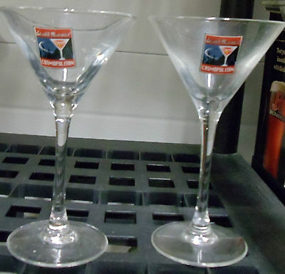 Set of 2 Grand Marnier Liqueur Martini Cocktail Glasses Vibrant Logos