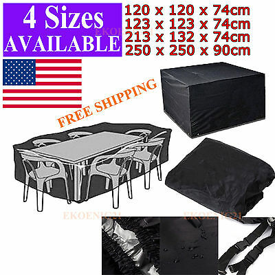 """99"""" L Patio Garden Outdoor Yard Waterproof Table and Chairs Furniture Cover Set"""