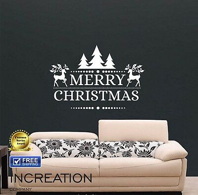 Merry Christmas Wall Decal Vinyl Sticker, mural antique style holidays decor art