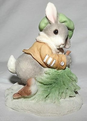 My Blushing Bunnies Wintertime Blessings Boy Pulling Tree Branch Figurine 178616