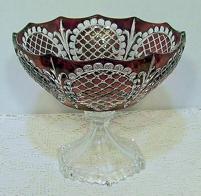 SPECTACULAR Birk's RUBY RED CUT TO  CLEAR Pedestal Fruit Bowl  PRISTINE Must See