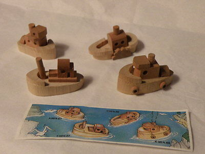Kinder Surprise 1998 Wooden Boats Lot Of 4 With Paper Nice See Pictures Rare
