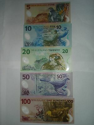 """New Zealand""$5,10,20,50,$100 Dollars""ALL Prefix""AA""UNC""Banknotes,1 set 5 Notes"""