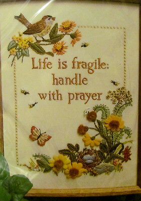 Crewel Embroidery Kit 1004 Life is Fragile The Creative Circle 1982 Vtg