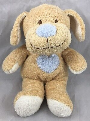 Ty Huggypup Puppy Dog Rattle Baby Tan Blue Pup Heart 2005 Lovey Plush Soft Toy