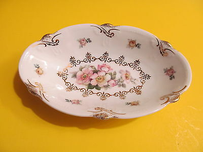Schumann Bavaria Oval Relish Dish Eleanor Floral Rink Roses Gold Accents