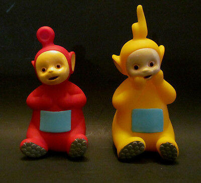 Teletubbies Rubber Dolls Vintage Laa-Laa and Po Yellow and Red 1998