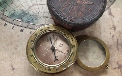 Solid Brass Nautical Compass With Magnifier In Leather Case