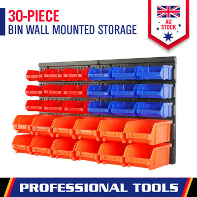 New 30Pc Wall Mounted Storage Bin Rack Tool Parts Organiser Box Garage Workshop
