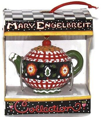 Mary Engelbreit,Christmas Ornament Red Green White Miniature Teapot Resin New