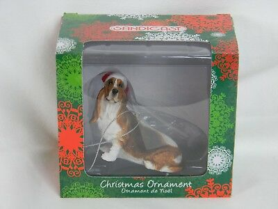 Basset Hound Christmas Ornament Dog Sandicast Hand Cast Painted Red & White Hat