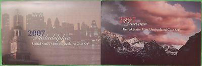 2007 US (P and D Marks) Uncirculated Set Including Card