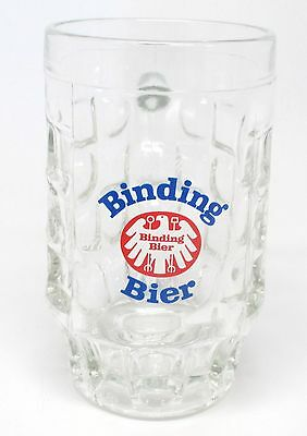 Binding Bier 100 Jahre 1970 Glass Beer Mug / Stein with Square & Circle Blocks
