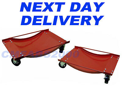 2 x 450 kg Car Wheel Skates Dollies Dolly - NEXT DAY DELIVERY *RED*