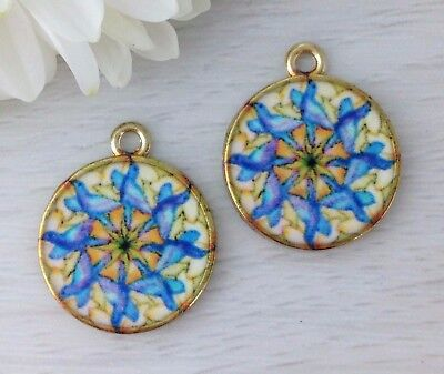 Mandala Charms - 2pc Set - Gold Tone Flower Floral Sacred Geometry CH383