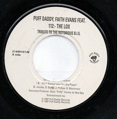 PUFF DADDY FAITH EVANS - TRIBUTE TO NOTORIOUS B.I.G   - 45rpm vinyl single