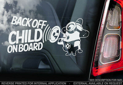 Child on Board -Car Window Sticker- Minions Gift Idea Decal - PERSONALISE! - V02