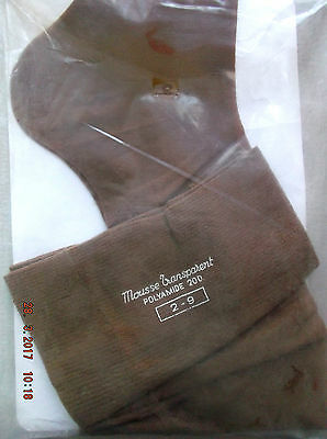 Bas stockings nylon vintage 20 deniers sans couture marron taille 2  NEUF