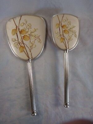Vintage Ca 1960s Vanity Brush & Hand Mirror Set ~ Hand-Painted Floral Art Theme