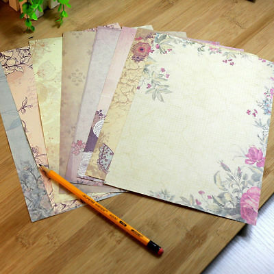 10PC Romantic Flower Pattern Writing Paper Office BFF Lover Letter Stationery