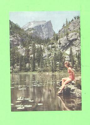 Vintage Calendar Image Bathing Woman Beauty At Pool Quiet Scene