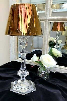 BACCARAT Harcourt Our Fire Bougeoir Lead Crystal Candlestick - Gold - numbered
