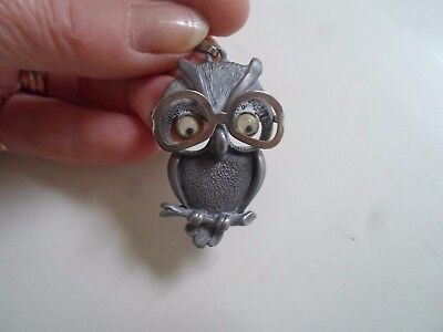 Quirky Owl Pendant With Moving Eyes and Lift Up Glasses Spectacles FAB BRAND