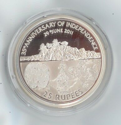 Seychelles Silver Coin 2011 25 Rupees - 35 Anniversary Independence Silver Proof