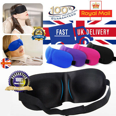 EYE MASK Sleeping Sleep Aid Shade Travel Blindfold Blinder Soft Elasticated UK