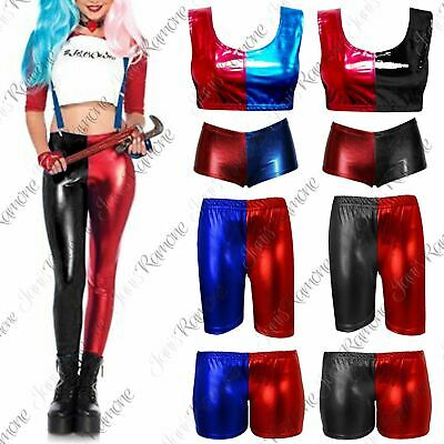 New Womens Halloween Cosplay Shorts Suicide Squad Wet Look Shiny Hot Pants
