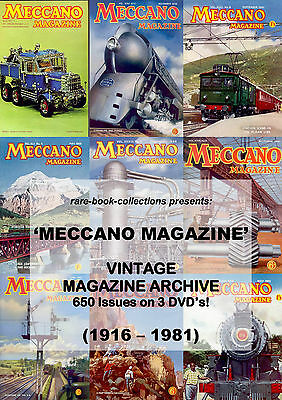 MECCANO MAGAZINE - COMPLETE 650 ISSUES ON 3 DVDs - VINTAGE TOY MODEL TOYS TRAINS