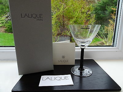 Boxed Lalique Champagne Coupe Phalsbourg with Black Stem BNIB 1st Quality