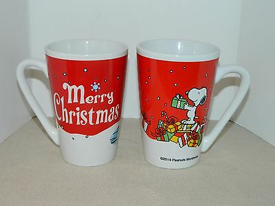 Peanuts Merry Christmas Snoopy Ice Skating Woodstock Presents Tall Mug LOT OF 2