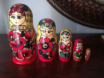 Matryoshka 5 RUSSIAN Nesting Dolls Strawberries Hand painted Floral Red 7.5''