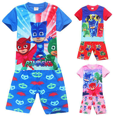 PJ Masks Boys Girls Clothing T-Shirt Summer Wear Kid Short Sleeves Pants Pajamas