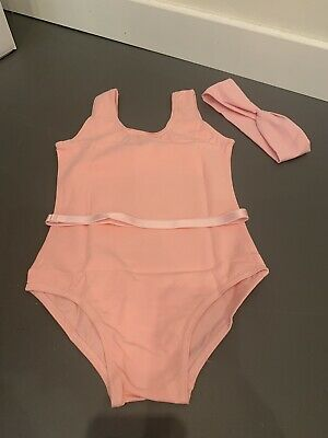 New Lot Pink Ballet Dance Leotards And  Belt And Free Hairband