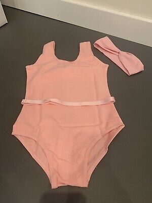 New Lot Pink Ballet Dance Leotards Cotton, Belts And Headbands